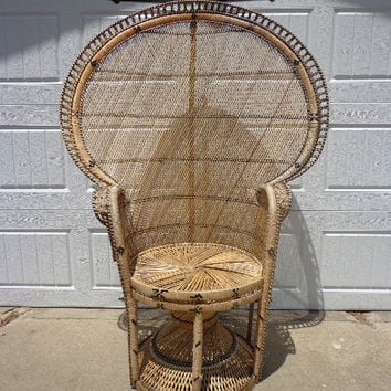 Fabulous Boho Chic Peacock Chairs Fan Regency  Rattan Armchair Chair Chippendale Chinoiserie Bamboo Miami Chair Mid Century Bentwood Wicker