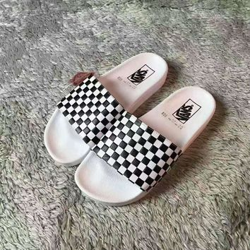 Vans Checkerboard Casual Fashion Women Men Sandal Slipper Shoes