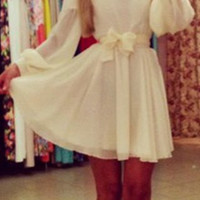 White Long Sleeve Bowknot Chiffon Dress