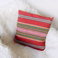 Vintage Linen Rustic Pillow Case, ethnic tribal pillow cover, red and white, green and yellow, vintage rustic tribal eco-fiendly home decor