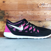 Nike Free Run 5.0 Youth Glitter Kicks Running Shoes Pink/Black