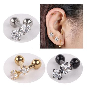 16G 1.2mm Stainless Steel Cubic Zirconia Tragus Helix Ear Stud  Barbell  Piercing Barbell Jewelry For  Women