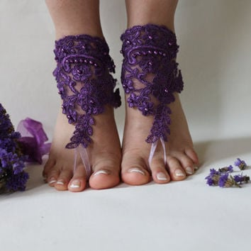 FREE SHİPP Purple Lace Barefoot Sandals, french lace, Nude shoes, Foot jewelry,Wedding Shoes Victorian , Lace Anklet ,Lace Barefoot Sandals
