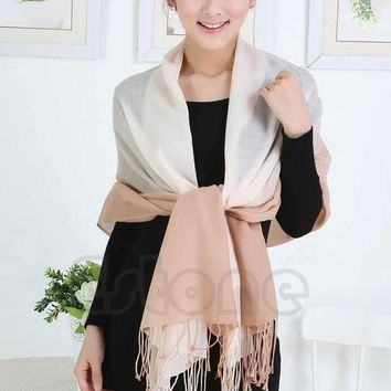 Free Shipping Women Cashmere Long Large Stole Pashmina Tassels Gradient Wool Shawl Scarf Wrap Y107