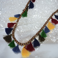 Multicolor Fall Beaded Tassel Necklace