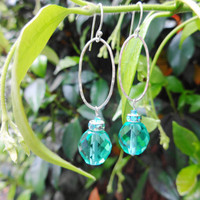 Pure Silver Oval Drop Earrings with Sea Green Glass Faceted Beads Preciosa Rhinestones and Sterling Silver Shepherd Hooks