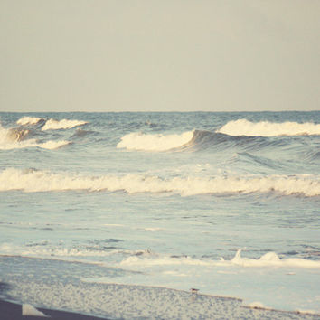 Beach Waves Art Print  Blue Gray White Ocean by SevenElevenStudios