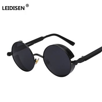 LEIDISEN Gothic Sunglasses POLARIZED Men Women Steampunk Round Metal Frame Sun Glasses Eyewear Brand Designer High Quality UV400
