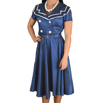 Vintage Design 60's Sailor Navy Satin Flare Swing Dress