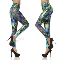 Glamor Summer Bloom Color Printing Leggings Pant