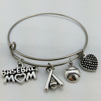 Softball Bracelet, I love Softball, softball mom, bangle bracelet, charm bracelet, softball, basketball Bangle, softball love