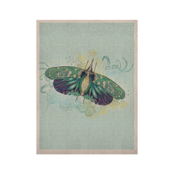 "Catherine Holcombe ""Blue Deco"" Teal Moth KESS Naturals Canvas (Frame not Included)"