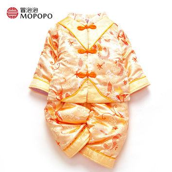 Mopopo Chinese Tang Style Baby Boy Clothing Set 3pcs Baby Clothes Boy Winter 0-3 Long Sleeve Thicken Clothes Baby Boy For Winter