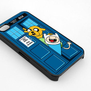 Adventure Time Jake N Finn Dr Who Tardis for iphone 4/4s case, iphone 5/5s/5c case, samsung s3/s4 case cover