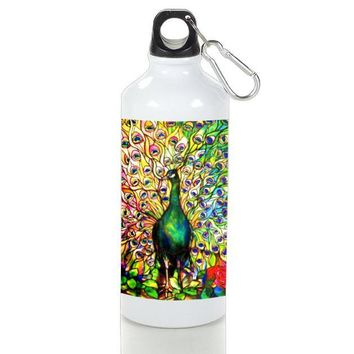Gift Sport Bottles | Stained Glass Tiffany Style Peacoc Stained Glass Art Aluminum Sport Bottles