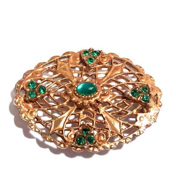 Czech Filigree Rhinestone Brooch, Emerald Green, Art Deco 1930s, Lacy Open Work Design, Gold Gilt, Oval Shape, Vintage