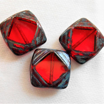 Lot of six 15mm x 15mm large transparent red, square, table cut, carved Czech glass window beads with a gray picasso finish C72201