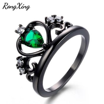 RongXing Water Drop Green Crystal Zircon Queen Crown Rings for Women Vintage Black Gold Filled CZ Ring Fashion Jewelry RB1355