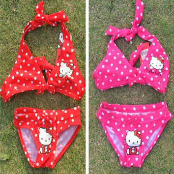 New summer baby girl swimming suits kids 2pcs cartoon Bikini swim clothing swimwear hello kitty beachwear