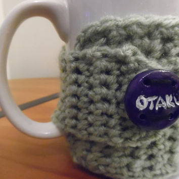 Olive Otaku Green Crochet Coffee Cup Cozy / hand made / mug cozy / crochet cozy / mug warmer / geekery /