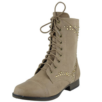 Womens Ankle Boots Rhinestone Studded Combat Lace Up Shoes Beige SZ
