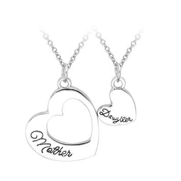 2PCS Vintage Heart Mother Daughter Pendant Necklace Family Love Women Girl Mother's Day Party Collar Gift Charm Jewelry Collier