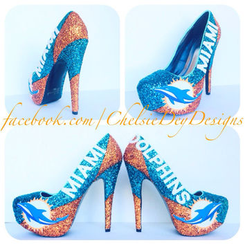 Miami Dolphins Glitter High Heels