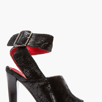 Jeffrey Campbell Black Cracked Patent Suede Gurley Heels