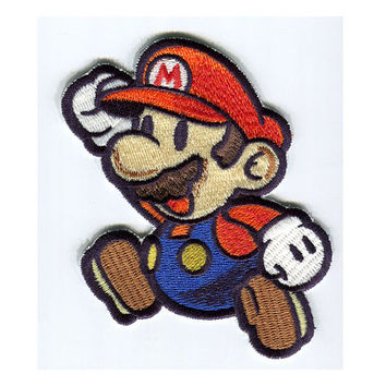 Super Paper mario Jumping Iron On Patch