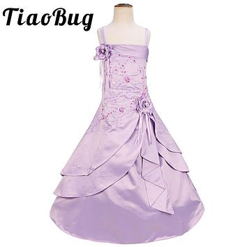 TiaoBug Brand New Elegant Flower Girl Dresses Birthday Party First Communion Dress Embroidered Satin Princess Pageant Prom Gown