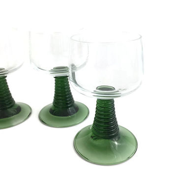 Four Mid Century Rhine Wine Glasses with Green Stem