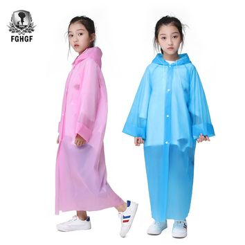 FGHGF Not Once EVA Transparent Fashion Frosted Child Raincoat Girl And Boy Rainwear Outdoor Hiking Travel Rain Coat For Children