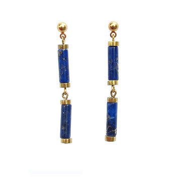 Lapis Lazuli Blue Stone and Brass Rondel Earrings by Hieropice