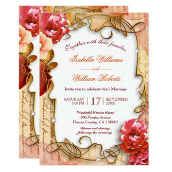 Romantic Floral Peonies Boho Wedding Invitation