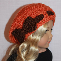 orange and brown crochet hat with bow, 18 inch doll clothes, American girl, Maplelea
