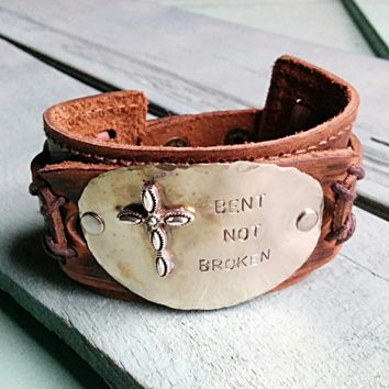 BENT NOT BROKEN Distressed Leather Cuff Bracelet 005p