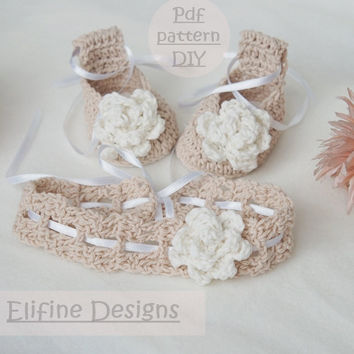 CROCHET PATTERN,crochet ballet shoes,crochet headband,crochet booties,baby shower,diy,baby,patterns,crochet for babies,crochet shoes,set