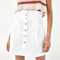 PAPERBAG SKIRT WITH SNAP BUTTONS DETAILS
