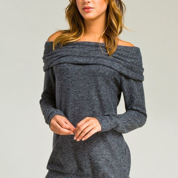 A Cozy Touch Top - Charcoal