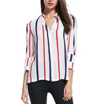Fun Orange New Fashion Women Summer Blouse Casual Chiffon Lantern Sleeve Shirts Half Stand Red Blue Striped Blouse
