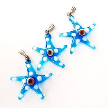 Murano glass evil eye starfish pendant - lampwork evil eye bead - blue evil eye nazar pendant - turkish greek evil eye - jewelry supplies