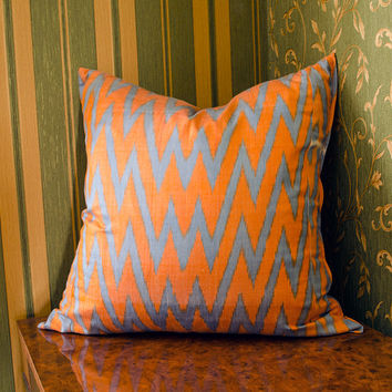 20 x 20 chevron ikat pillow cover, orange blue zig zag cushion cover, ikat pillows, 20x20 pillows, chevron, interior pillows, cushion, uzbek