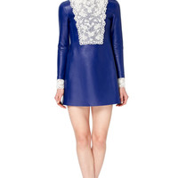 Agnello Long Sleeved A-Line Dress With Embroidered Cuff by Valentino - Moda Operandi