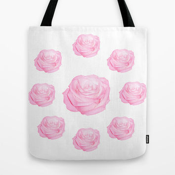 Pastel Pink Roses Tote Bag by Laureenr