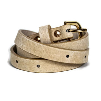 Faux Suede Belt in Cream