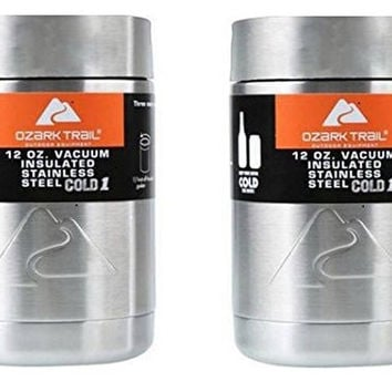 Ozark Trail 12 Ounce Double Wall Can Koozie Cup Silver Top - 2 pack