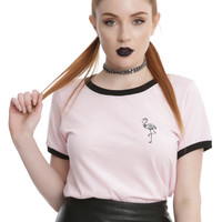 Skeleton Flamingo Girls Ringer T-Shirt