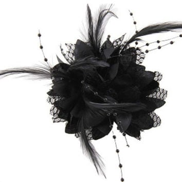Women Ladies Flower Feather Bead Corsage Hair Clips Fascinator Bridal Hairband Brooch Pin SM6