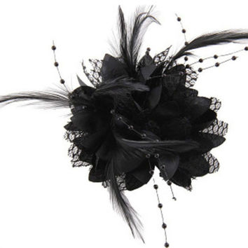 Women Ladies Flower Feather Bead Corsage Hair Clips Fascinator Bridal Hairband Brooch Pin J4U66