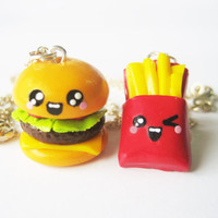 Cute Hamburger and French Fries Best Friend Polymer by MonkeySushi